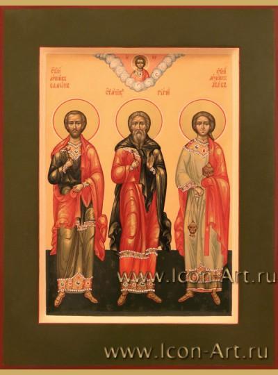 Рукописная Икона Святых Гурия, Самона и Авива