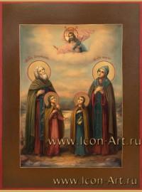 Рукописная Икона Преподобных Ксенофонта, Марии и их чада Иоанн и Аркадий 21*28см