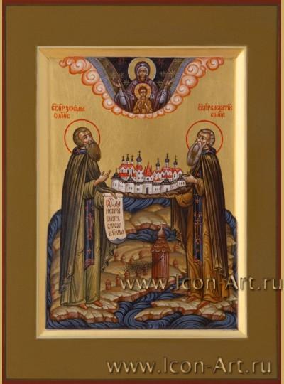 Рукописная Икона святых Зосимы и Савватия Соловецких 15*20см