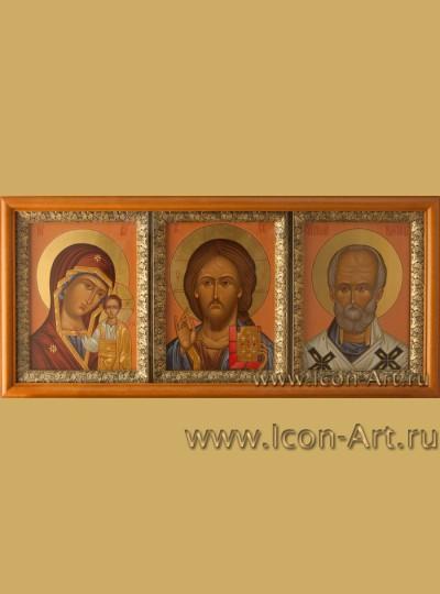 Триптих: Пресвятая Богородица «Казанская», Господь Вседержитель и святитель Николай Мирликийский