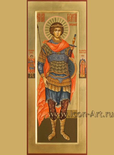 Рукописная мерная икона святого Георгия Победоносца
