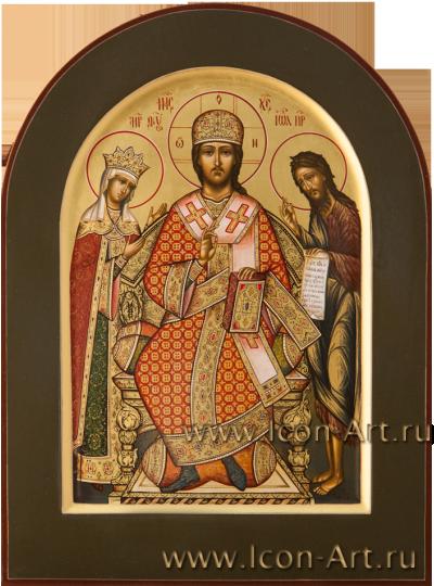 Рукописная  икона Деисус 21*28 см