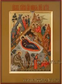 Рукописная Икона Рождества Христова 15*20см