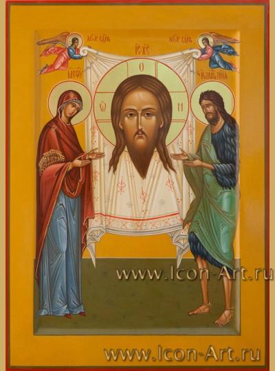 Рукописная  икона Нерукотворный образ Господа нашего Иисуса Христа с предстоящими Пресвятой Богородицей и Иоанном Предтечей 23*32см