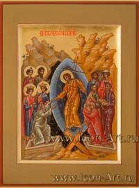 Рукописная  Икона Воскресения Христова 15*20см
