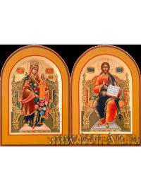 Рукописные Венчальные иконы Господь Вседержитель и Пресвятая Богородица Неувядаемый Цвет 15*20см