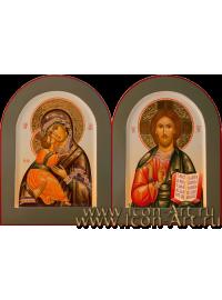 Рукописные Венчальные иконы Господь Вседержитель и Пресвятая Богородица Владимирская 21*28см