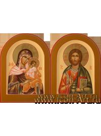 Рукописные Венчальные иконы Господь Вседержитель и Пресвятая Богородица Голубицкая 15*20см
