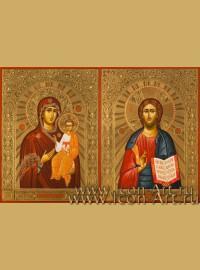 Рукописные Венчальные иконы Господь Вседержитель и Пресвятая Богородица Смоленская 15*20