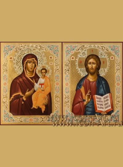 Рукописные Венчальные иконы Господь Вседержитель и Пресвятая Богородица Смоленская 21*28