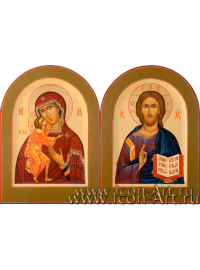 Рукописные  Венчальные иконы Господь Вседержитель и Пресвятая Богородица Фёдоровская 15*20см